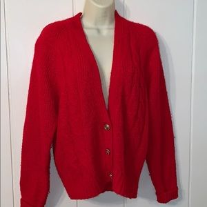 Nwot 80s/90s Ashley Hill red acrylic cardigan